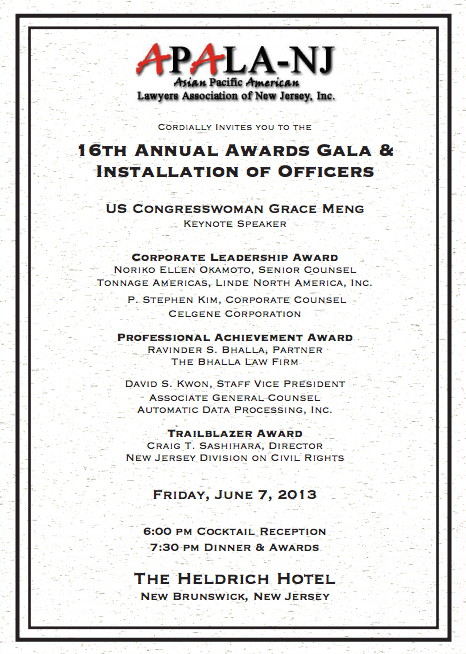 APALA-NJ 16th Annual Awards Gala: June 7, 2013, 6:00 pm, Heldrich Hotel